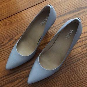 "Dove gray leather pumps, 3"" heel"